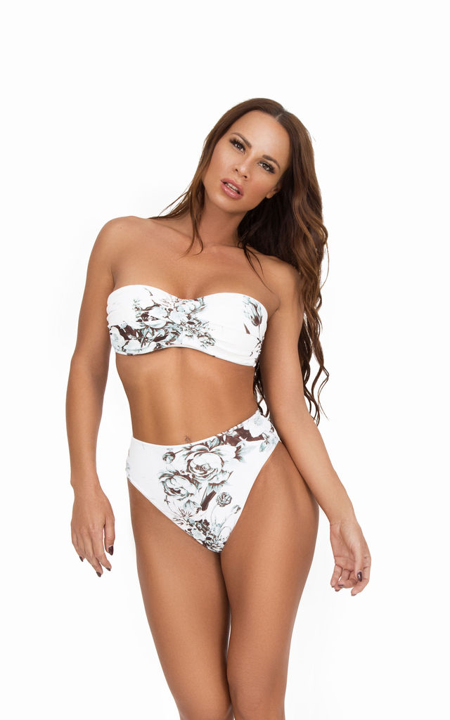 Noir Peony High Waisted Bottom by Mavele Swimwear