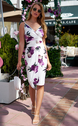Bodycon Midi Wrap Dress In White Floral by Bella and Blue Product photo