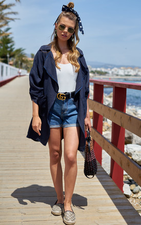 Linen Waterfall Jacket In Navy by Bella and Blue Product photo