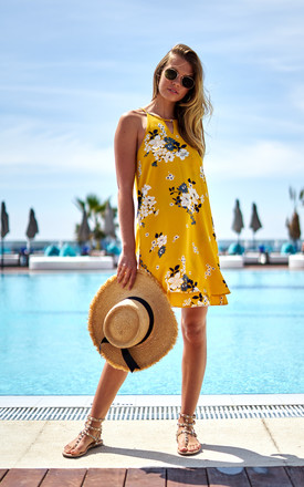 Yellow Floral Layered Mini Dress by ONLY Product photo