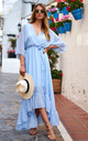Light Blue Plunge Maxi Dress by Lilah Rose