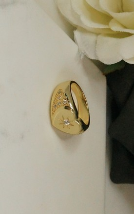 Gold plated heart signet ring by EPITOME JEWELLERY
