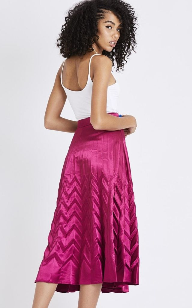 Pink Pleated Midi Skirt by Emily & Me