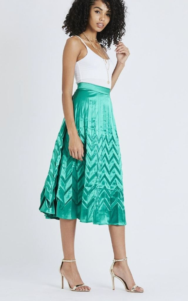 Pleated Midi Skirt in Green by Emily & Me