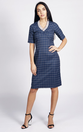 Holmes V Neck Dress In Blue And Grey Check by LAGOM Product photo