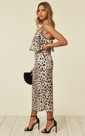 Animal Leopard Print Layered Satin Slip Midi Dress by URBAN TOUCH