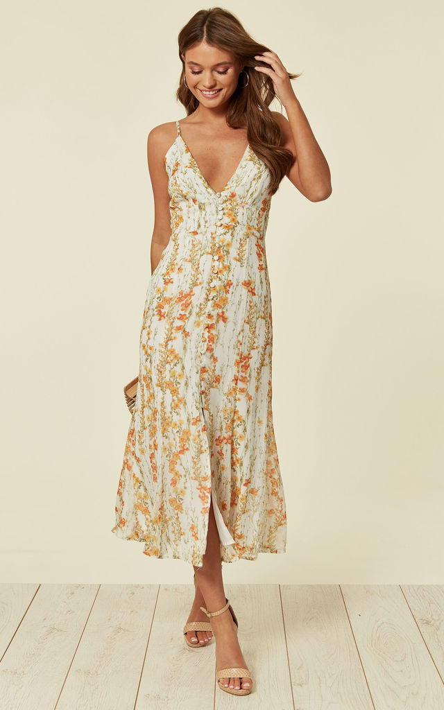 a29f2b3fc731f White Button Down Detail Summer Floral Midi Dress | Another Look ...