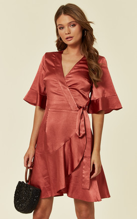 Short Sleeve Satin Wrap Dress In Red by Another Look Product photo