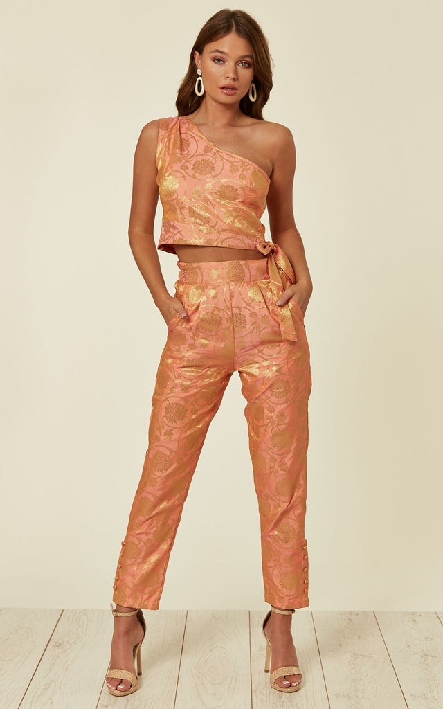 Bridesmaid & Wedding Party  Slim Fit Cigarette Trousers in Coral Brocade by Nesavaali