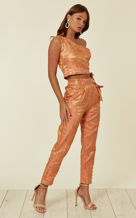 Slim Fit Cigarette Trousers in Coral Brocade by Nesavaali