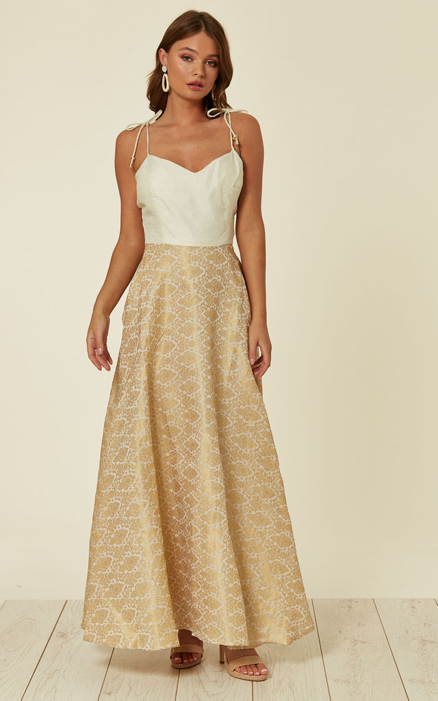 Strappy Sweetheart Maxi Dress in Gold by Nesavaali