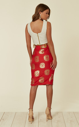 Pencil Fit Midi Skirt in Red and Gold Jacquard Print by Nesavaali