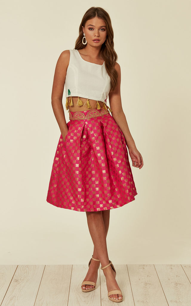 Pleated Flared Midi Skirt in Neon Pink and Gold Floral Print Brocade by Nesavaali