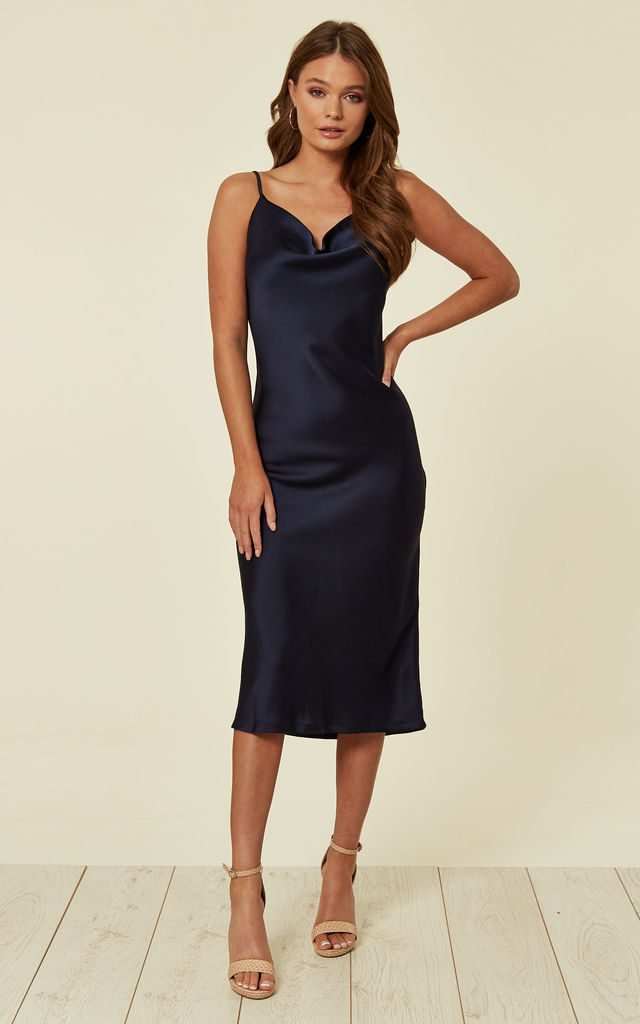 b2a6ee2a Cowl Neck Satin Slip Cami Midi Dress Navy | URBAN TOUCH | SilkFred