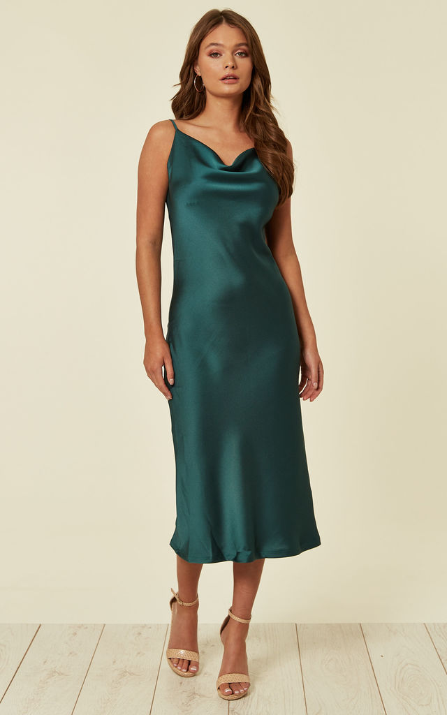 5dc3a2480c Cowl Neck Satin Slip Cami Midi Dress Green | URBAN TOUCH | SilkFred