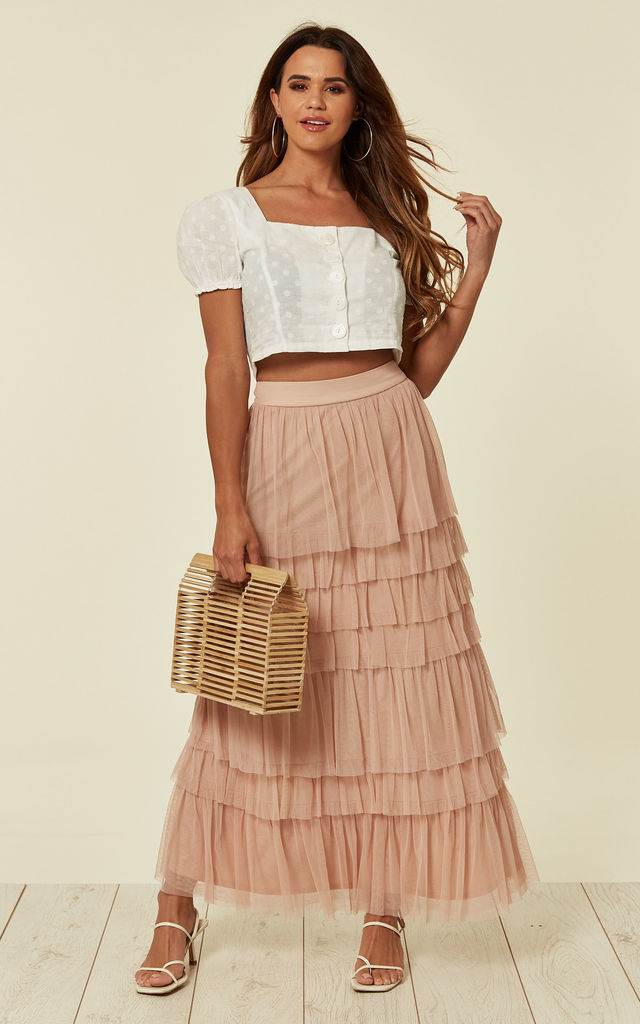 Pink Tulle Tiered Layered Fabric Maxi Skirt by ANGELEYE
