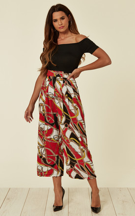 Red Chain Print Bardot Jumpsuit by AX Paris