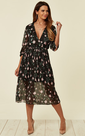 Pink Floral Navy Base Pleated Midi Dress by Liquorish Product photo