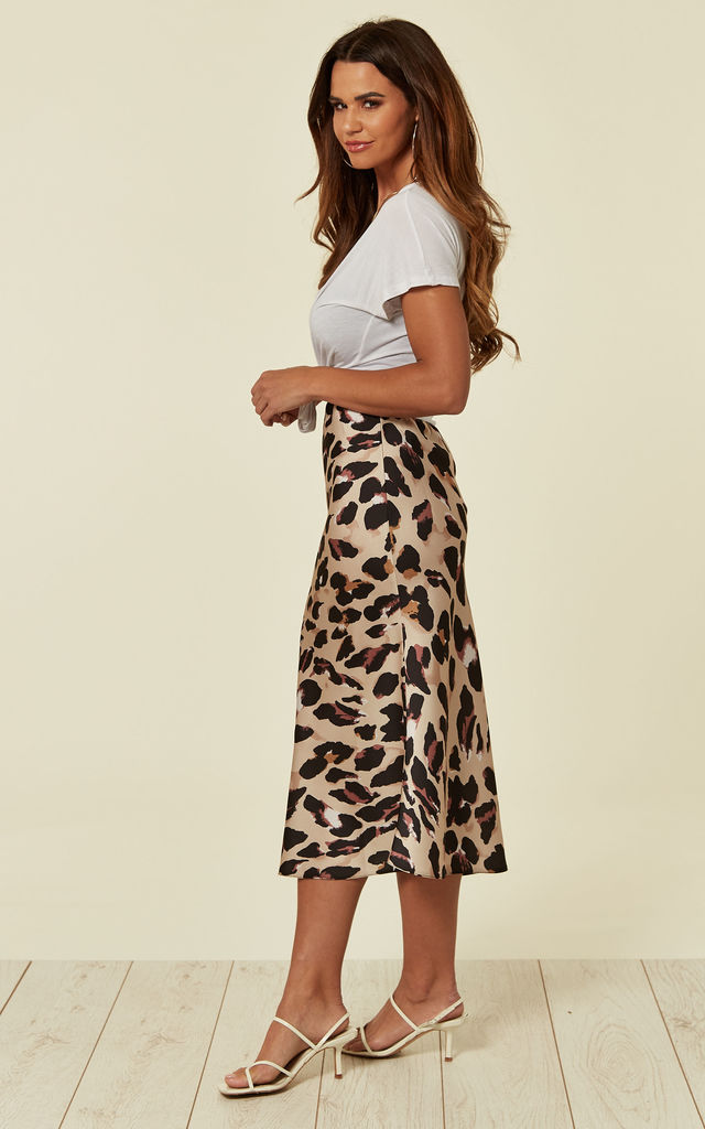 Satin Leopard Print Midi Slip Skirt-Brown by URBAN TOUCH