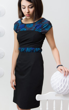 Melody Cap Sleeve Dress In Black And Blue by LAGOM Product photo
