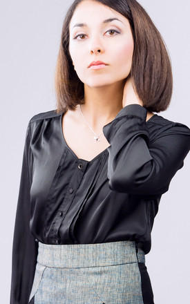 Emilia Satin Blouse In Black by LAGOM Product photo