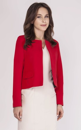 Short Classic Jacket with Front Pockets in Red by Bergamo