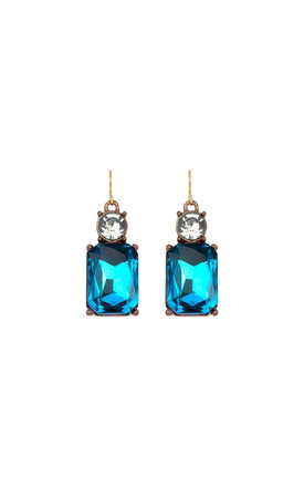 Simple Gem Drop Earring In Turquoise With Clear Crystal by LAST TRUE ANGEL Product photo