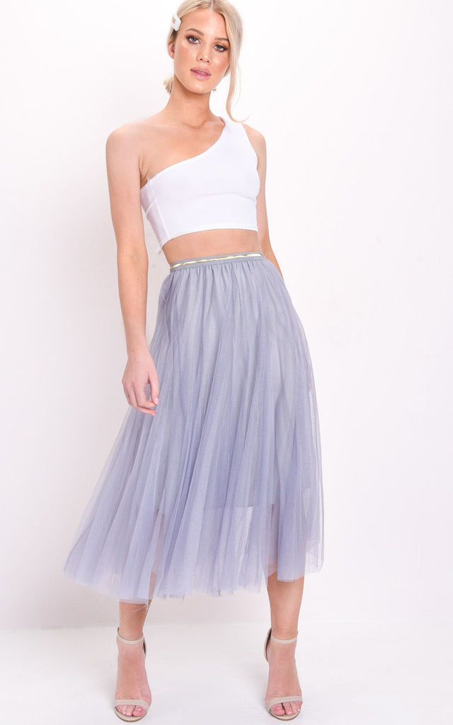 Gold detail tulle mesh midi skirt blue by LILY LULU FASHION