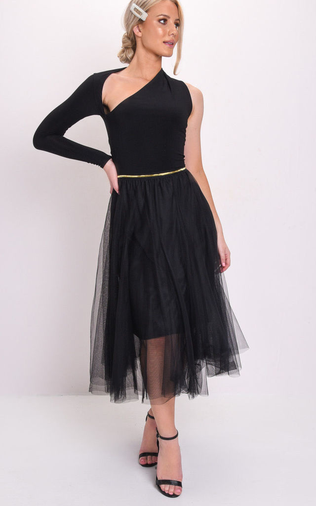 Gold detail tulle mesh midi skirt black by LILY LULU FASHION