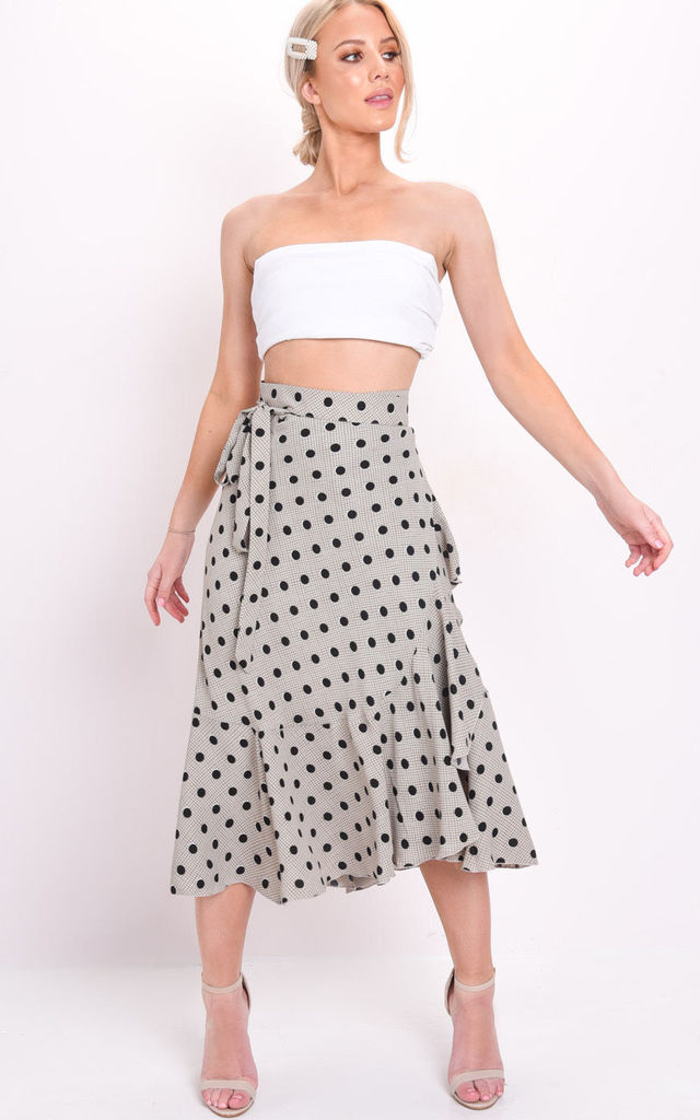 Polka dot and check print wrap ruffle midi skirt beige by LILY LULU FASHION