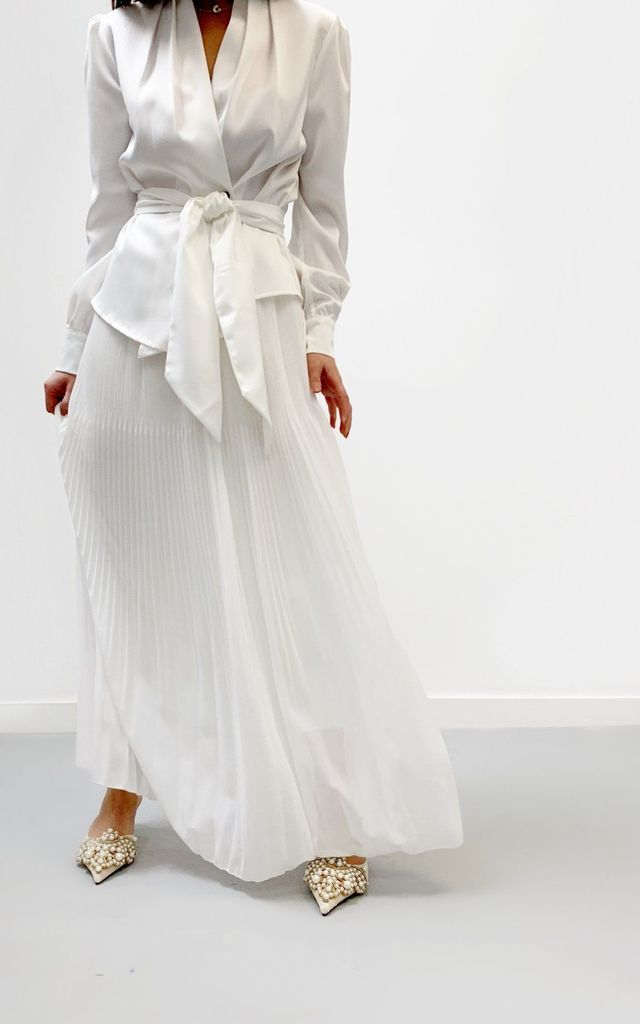 Pleated Maxi Skirt | White by Vita Grace