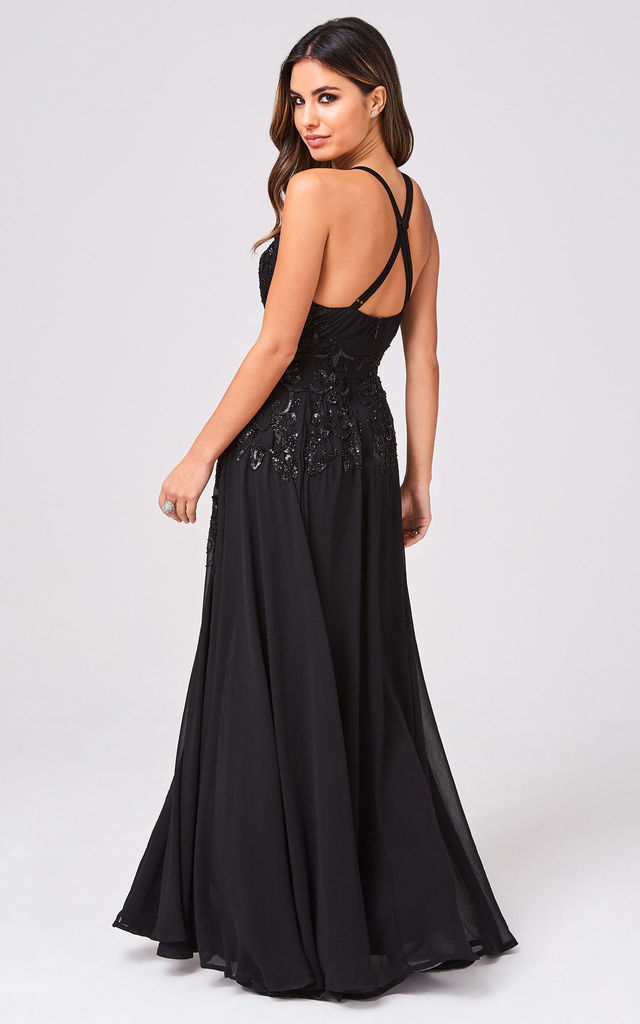 Rylie Black Hand-Embellished Maxi Dress by LITTLE MISTRESS