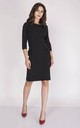 Tailored Midi Dress with 3/4 Sleeves in Black by Bergamo