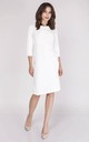 Tailored Midi Dress with 3/4 Sleeves in White by Bergamo