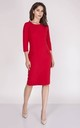 Tailored Midi Dress with 3/4 Sleeves in Red by Bergamo