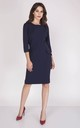 Tailored Midi Dress with 3/4 Sleeves in Navy by Bergamo