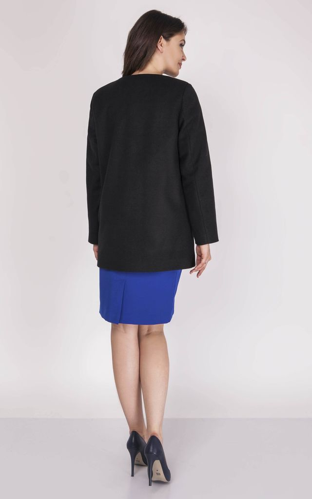 Classic Button Up Coat in Black by Bergamo