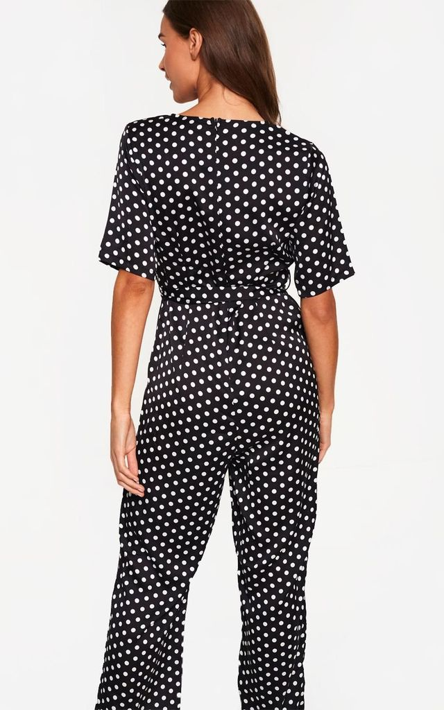 Short Sleeve Jumpsuit in Black Polka Dot by Marc Angelo