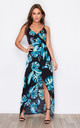 Mia Wrap Maxi Dress Turquoise Print by Girl In Mind