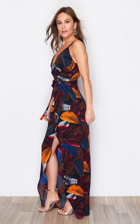 Mia Wrap Maxi Dress Navy Feather Print by Girl In Mind
