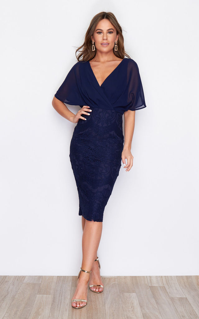 Joanna Wrap Lace Batwing Midi Dress Navy by Girl In Mind