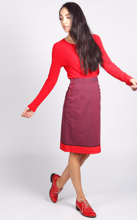 Bloomsbury Pencil Skirt In Purple And Red by LAGOM Product photo