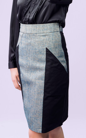 Imperia Pencil Skirt In Black And Blue by LAGOM Product photo