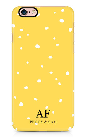 Personalised Phone Case in Yellow and White Spotty Print by Peggy and Sam