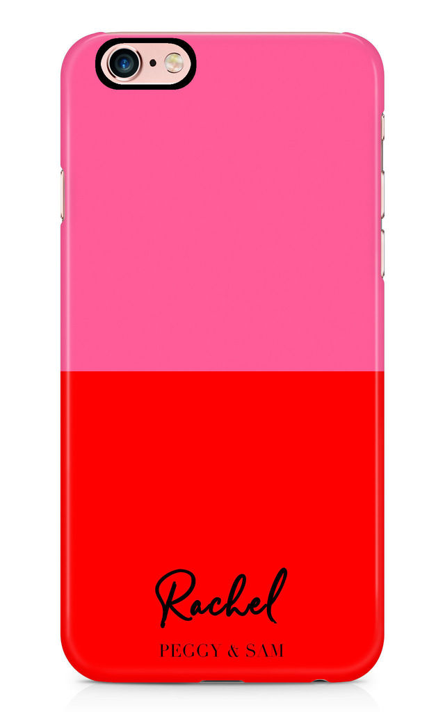 Personalised Phone Case in Pink and Red Print by Peggy and Sam