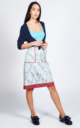 Riviera A Line Skirt In Blue And Red Giraffe Print by LAGOM Product photo