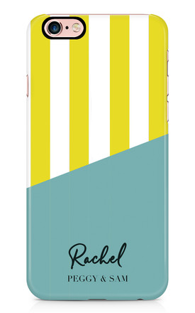 Personalised Phone Case in Yellow Turquoise Stripe by Peggy and Sam