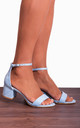 Light Baby Blue Ankle Strap Low Heeled Heels Peep Toes Strappy Sandals by Shoe Closet