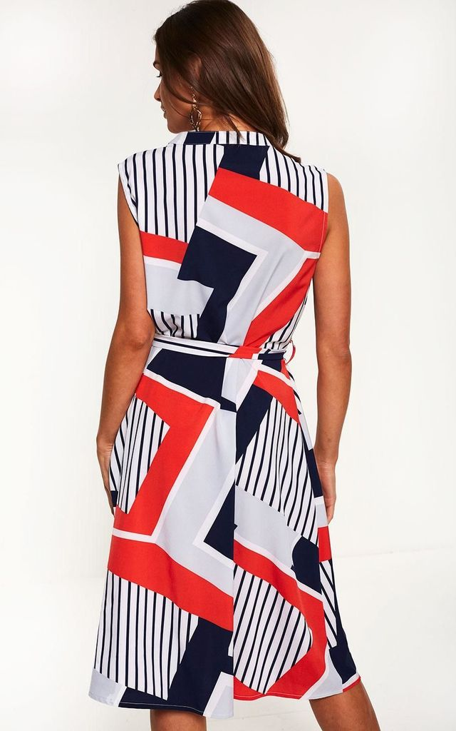Abstract Print Dress in Navy and Red by Marc Angelo