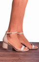 Champagne Gold Glitter Ankle Strap Low Heeled Heels Peep Toes Strappy Sandals by Shoe Closet